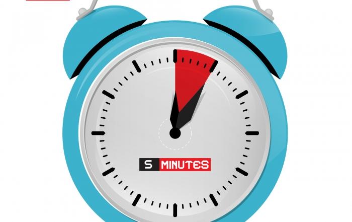 Five 5 Minutes Alarm Clock Vector Illustration