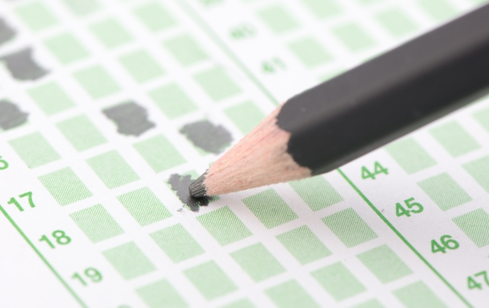 Filled answer sheet focus on pencil